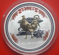 "Australien 1 Dollar 2005 1 Uz Lunar I ""Year of the Rooster"" #F 0192 Coloriert"