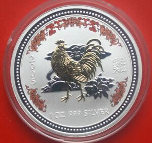 "Australien 1 Dollar 2005 1 Uz Lunar I ""Year of the Rooster"" #F0192 Coloriert"
