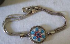 Sterling Triple Strand Bracelet w/  Millefiori Glass