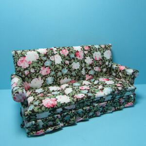 Dollhouse Miniature Living Room Sofa Couch in Rose Floral with Brown T3572