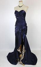 New Terani P655 Genuine Navy Slit-Skirt Strapless Evening Pageant Women Gown 0