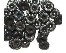 Ripple Rondelle 10mm Gunmetal Gray Pewter Color Metalized Metallic Beads