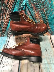 REDWING BROWN LEATHER LACE UP BOOTS SIZE 7.5 UK