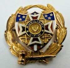 Grams Vfw Auxiliary Enamel Pin Veterans Antique Solid 10K Yellow Gold 6.7