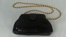 Vintage 80's Black Mesh Handbag Purse goldtone Chain