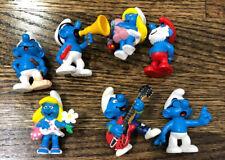 Lot Of 7 PEYO SCHLEICH VTG SMURFS  Blue SMURF PVC FIGURE Pitufos Cartoon Kid Toy