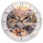 Disney Glass Wall Clock Thomas Kinkade Mickey Minnie Mouse Christmas Gift - NIB