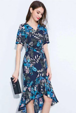 Printed chiffon mermaid style dress