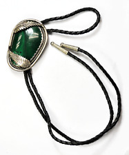 "Sterling Silver DW Signed Large Green Malachite Floral Bolo Tie 2-3/4"" x 1-7/8"""
