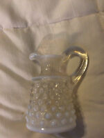 VINTAGE CLEAR WHITE OPALESCENT HOBNAIL GLASS PITCHER CREAMER!