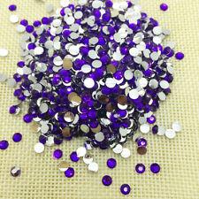 8mm 200pcs Purple Facets Resin Rhinestone Gems Flat Back Crystal Beads