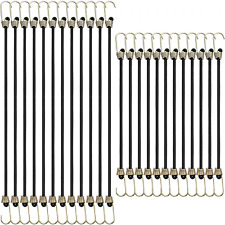 24 Pieces Bungee Cords With Hooks 9 Inch 12 Inch Heavy Duty Black Tie Down Strap