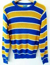 56b22541e527b8 Vtg 80s Blue Yellow Striped Surf Skate Dogtown Streetwear Retro Thin Sweater  S M