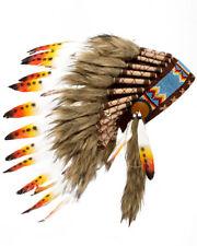 Native American Indian Headdress Yellow Orange Red Chief Feather War Bonnet