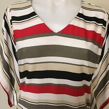 Liz Jordan Black Red White Khaki Top Size S Hankerchief Sleeves V Neck Ruched
