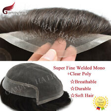 Super Fine Welded Mono Lace Front Mens Toupee Hairpiece Poly Skin Pu Hair System