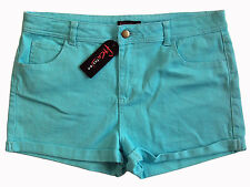 """FREE FUSION """"High Waisted Short"""" mid-rise stretch blue shorts 14 NWT $29!"""