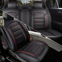 PU Leather Universal Seat Covers Front + Rear Split Rear Retractable Cushion