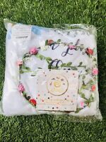 "Eksey Unisex Monthly Milestone 40""x40"" Plush Fleece Blanket Flowers Angel Wings"