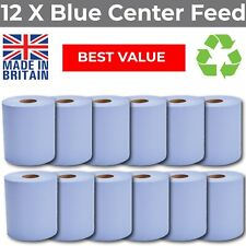 More details for blue centre feed rolls 2ply embossed  hand towels centrefeed 12 pack