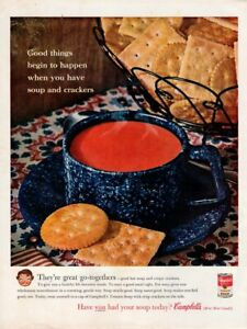 Vintage advertising print CAMPBELL'S Tomato Soup Crackers Blue enamel cup 1961
