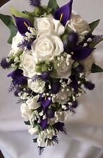 Scottish Wedding Flowers Bride's Bouquet Thistles, Lavender,Gyp, Lillies & Roses