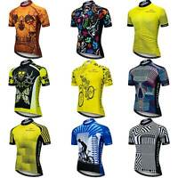 Reflective Cycling Jersey Men's Coolmax Short Sleeve Cycle Shirt with Zip Pocket