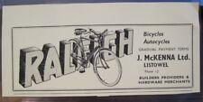 "Vintage Irish Advertisement RALEIGH Bicycles Listowel Kerry Ireland 1960 2x5.5"""