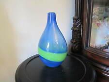 KOSTA BODA ART GLASS GUNNEL SAHLIN SIGNED BLUE With GREEN SWIRL  VASE