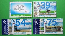 Nederland NVPH 2061 t/m 2064 diversen w.o. eurozegels met TAB 2002 gestempeld