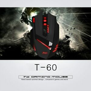 ZELOTES T-60 7200DPI Wired Gaming Mouse USB Computer LED Backlight Mice