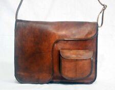 Real leather messenger shoulder laptops handmade brown vintage retro satchel bag