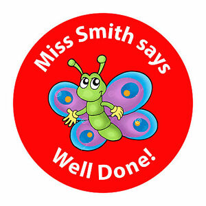 80 Personalised Teacher / Parent reward Stickers for Pupils Well Done Butterfly