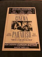 1990 Vintage 8X12 B&W Movie Print Ad For Cinema Paradiso Oscar Winner Foreign