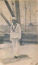 c1914 RPPC World War One WWI Sailor on Ship Real Photo Postcard