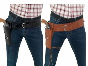 Adult Faux Leather Single Holster with Belt Mens Cowboy Fancy Dress