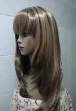 beautiful long brown mix blonde straight health hair lady wigs for women wig