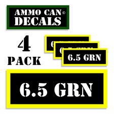 """6.5 GRN Ammo Can Labels Ammunition Case 3""""x1.15"""" stickers decals 4 pack BLYW"""