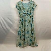 Dressbarn Womens Blue Floral V Neck Short Sleeve Knee Length Midi Dress Size 10