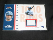 BERNIE WILLIAMS YANKEES CERTIFIED AUTHENTIC GAME USED JERSEY BASEBALL CARD # 2/7