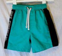 Boys M&S Green Black Mesh Lined Swimming Swim Shorts Age 7-8 Years