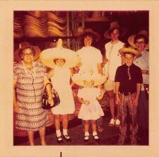 TRYING ON SOMBRERO STRAW HATS - FAMILY VACATION TRIP KIDS WOMEN VTG PHOTO 204