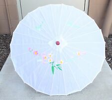 """22"""" Inch tall White Floral Wood Bamboo Nylon Parasol Umbrella Decoration Gift"""