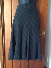 Charcoal Grey Fluted Pinstripe Wool Blend Skirt 10