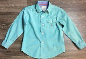 Nautica Boys Button Down Green 100% Cotton Orange Logo Shirt Size XL 7X