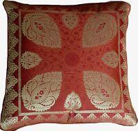 2 x Orange Rust Cushion Covers Brocade mandala 40cm Paisley Banarasi Silk Gold