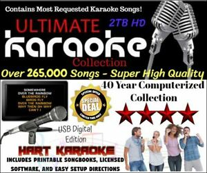 Karaoke USB 2TB Hard Drive 265,000 All Styles Songs CDG+MP3 - With software