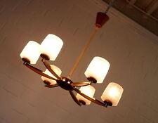 alte Temde Nussbaum Eisglas Stab Decken Leuchte Lüster 6 flammig Ø 77 cm 60er J