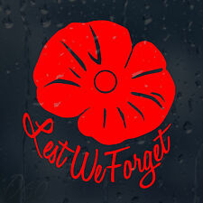 Lest We Forget Remembrance Poppy Day Car Decal Vinyl Sticker For Bumper Window