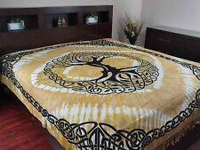 Celtic Tree of life Tapestry Heavy Cotton Spread Dorm Throw Beach Amber w/Fringe